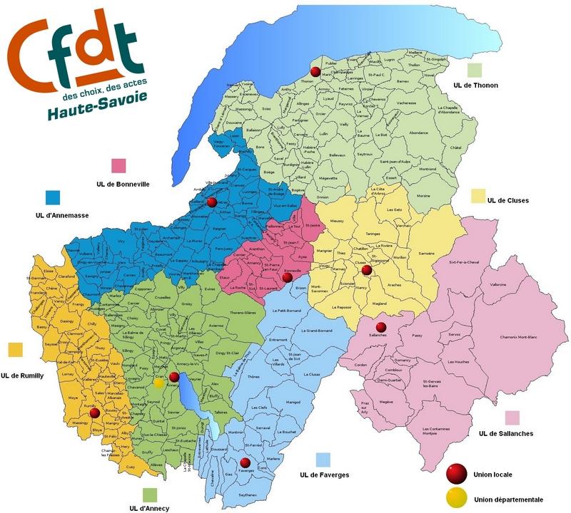 Carte des unions locales cfdt en haute savoie cfdt haute for 74 haute savoie carte